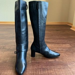 Cole Haan black leather/suede 6B high heel boots